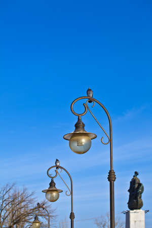 The pigeon is sitting on the lamp, the blue sky behind