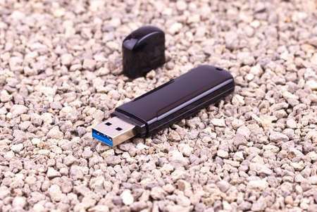 Flash memory is on the small stones Stock Photo