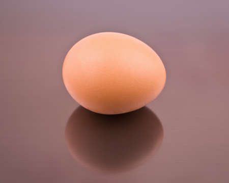 One egg on a gray background from aluminum with reflection