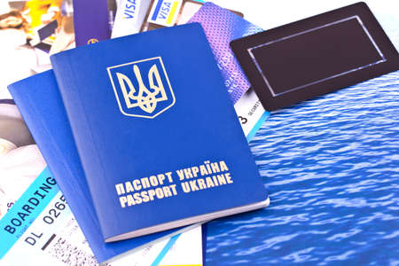 Passport, tickets and credit cards for travel