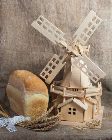 flour mill: bread and mill  Stock Photo