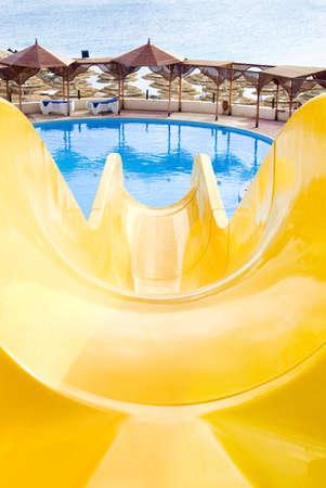 water park, top water slide, Closeup