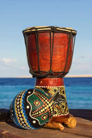 maracas and ethnic drum photo