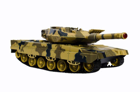 militarily: plastic toy tank isolated on white background Stock Photo