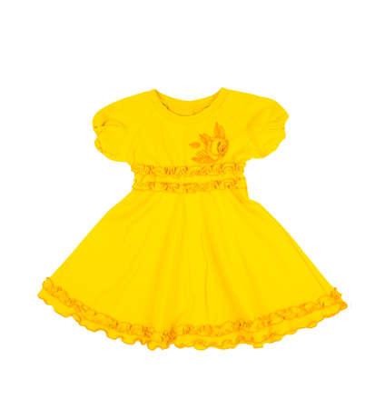 velvet dress: baby yellow dress isolated on white background
