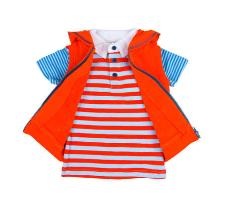 children striped T-shirt and sweatshirt isolated on white background photo