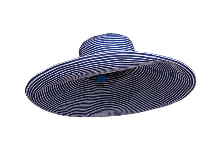 beach hat: blue striped summer woman hat isolated on white background Stock Photo