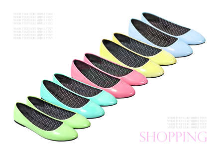 green and purple: set of colorful summer shoes flat shoes Stock Photo