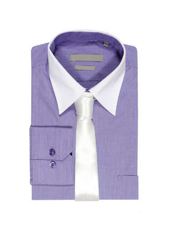formal wear clothing: purple shirt folded on white background  white tie and white collar