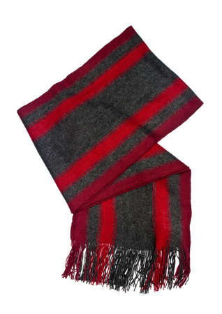 checkered scarf: striped scarf isolated on a white background Stock Photo
