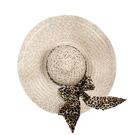 Top view of a round straw hat on a white background