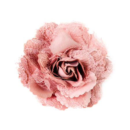 factitious:  pink brooch  flower isolated on white background