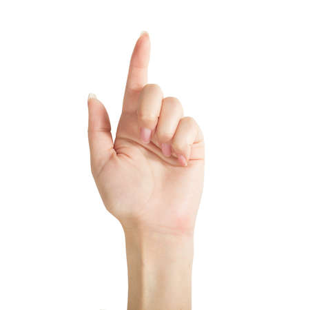 The hand pointing is on the white background Stock Photo - 20723968