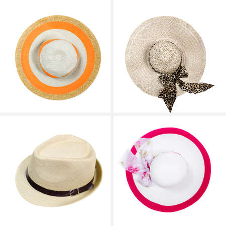 collection of beautiful  summer hats Stok Fotoğraf