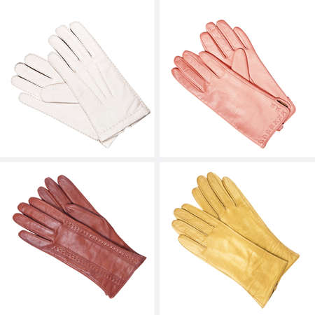 leather gloves: Collection of female leather gloves Stock Photo