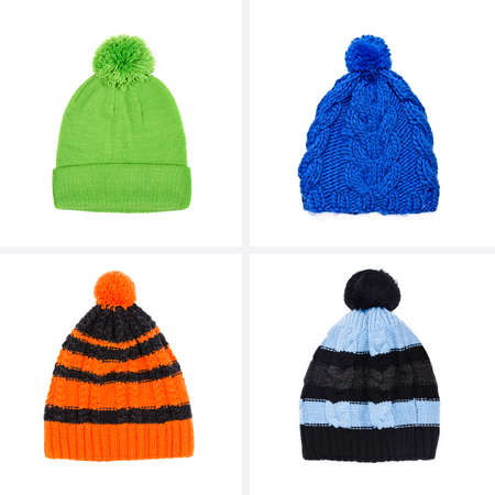 collection of knitted caps isolated on white background
