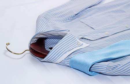 life style: Mens classic shirts on the bed.
