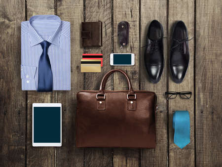 formal clothing: business clothes on a wooden background