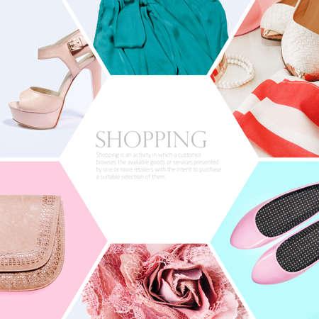 moda ropa: colección de collage de ropa de mujer