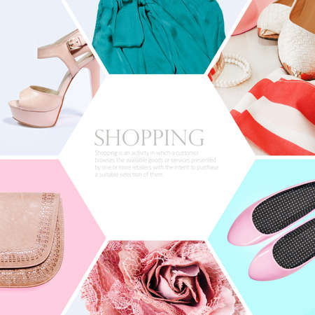 fashion: collection collage of womens clothing Stock Photo