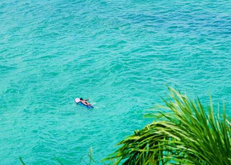 water sport: Surfer on Blue Ocean Wave