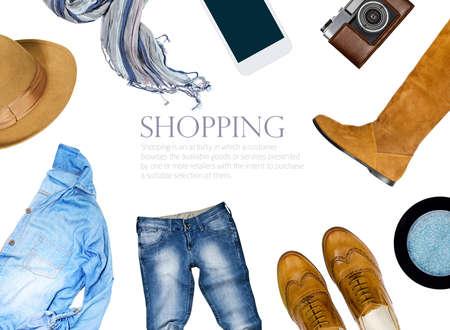 mode: insamling collage av damkläder Stockfoto