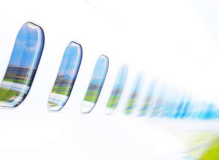 salida de emergencia: Avión de Windows en el fondo de cielo azul