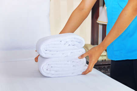 keeping room: cleaning in a hotel room