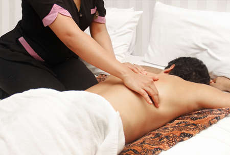 male massage: man in an massage therapy