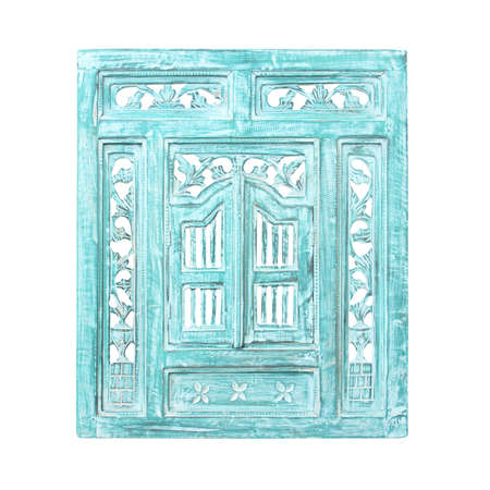 white window: Old window frame isolated on white background.