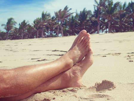fiji: man resting on the beach Stock Photo