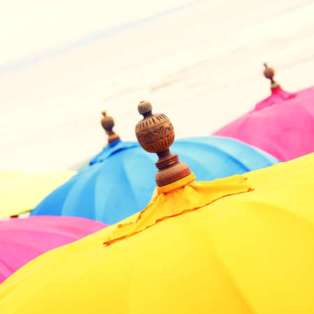 legian: Colorful Beach Umbrella against the Sky. Shallow depth of field. retro effect