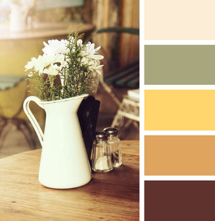 hues: table setting in cafe.  colour palette swatches. pastel hues Stock Photo