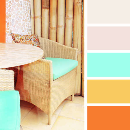 hues: table setting in cafe.  color palette swatches. pastel hues