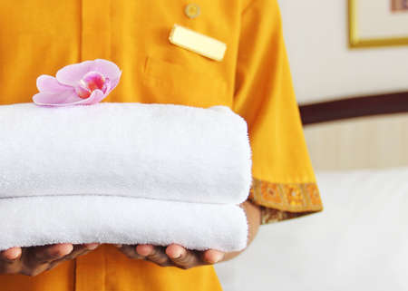 hotel worker: cleaning in a hotel room