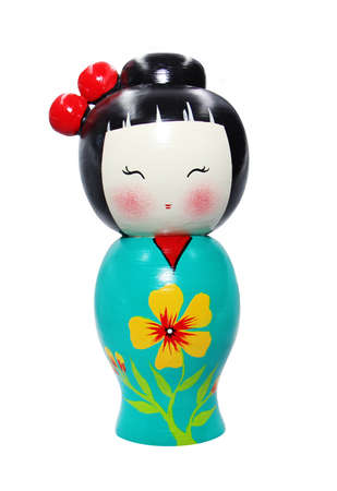 wooden doll: Asian doll wooden statue isolated on white Stock Photo