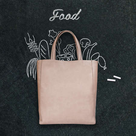 white paper bag: bag with drawn  food on a chalk board