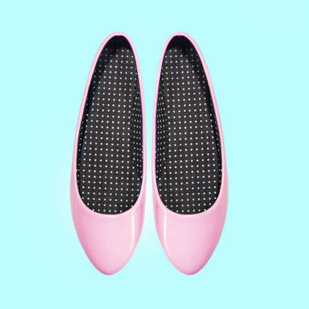 shoes woman: pink shoes on a blue background