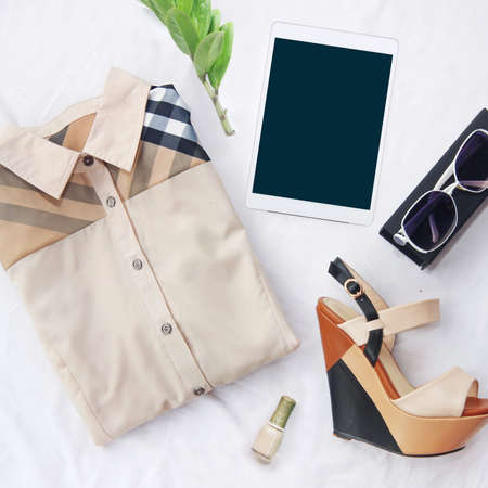womens clothing: collection collage of womens clothing Stock Photo