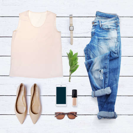 casual clothing: collection collage of womens clothing Stock Photo