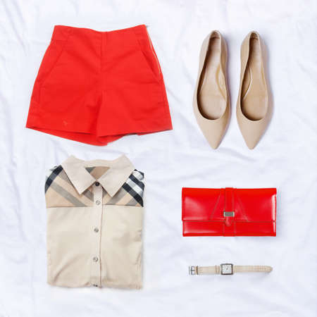 collection collage of womens clothing Imagens