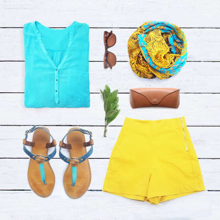 ropa casual: colección de collage de ropa de mujer