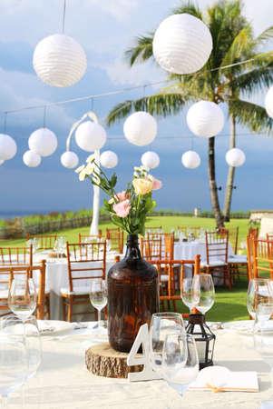 bahamas celebration: Decorated wedding table at reception beach resort