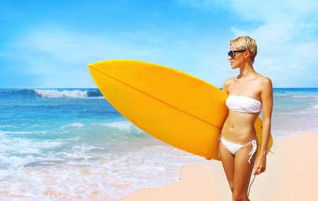 varadero: surfer girl on the beach Stock Photo