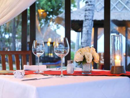 a romantic dinner on a tropical island