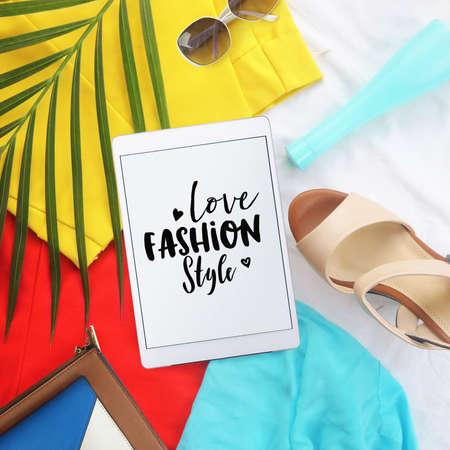 clutch bag: fashion  concept. Minimal set of Feminine accessories on white background.