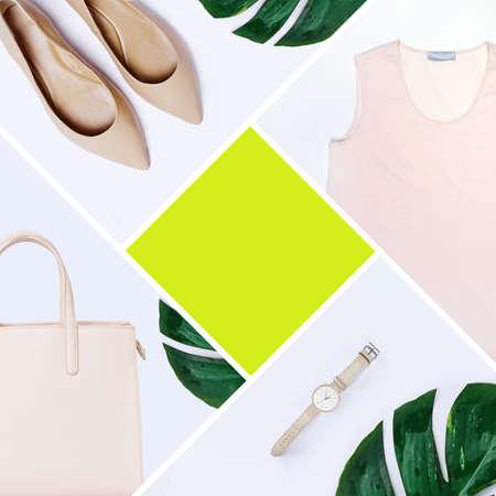 Mode-Blogger-Konzept. Minimal Satz von Feminine Zubehör auf weißem Hintergrund. Standard-Bild