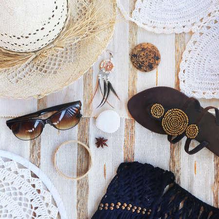 concepto blogger de moda. set de accesorios femeninos
