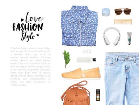 feminine background: fashion blogger concept. Minimal set of Feminine accessories on white background. Stock Photo