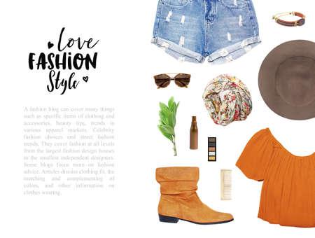 concepto blogger de moda. conjunto mínimo de accesorios femeninos en el fondo blanco.